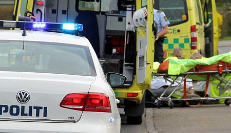 Til Rigshospitalet efter uheld