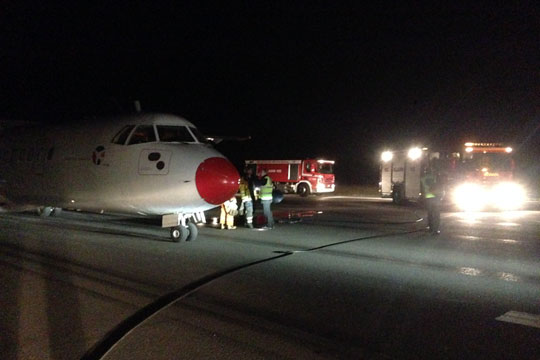 Brand i motor i morgenfly fra Bornholm