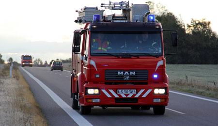 Brand i stor bunke flis i Nexø
