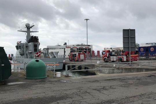 Brandøvelse i skib på Rønne Havn