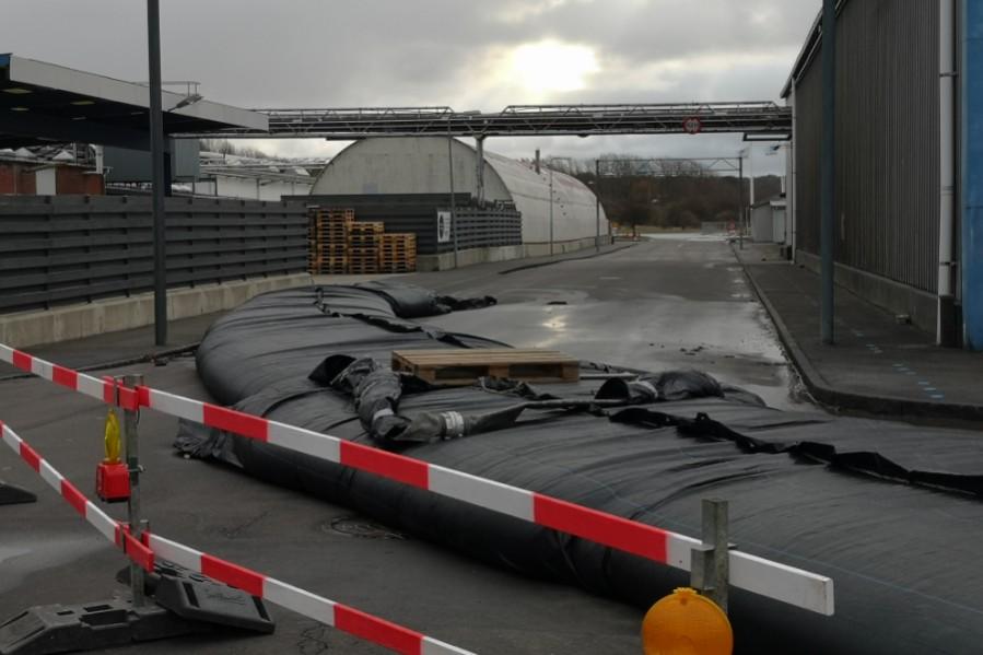 Dele af Sydhavnen i Rønne oversvømmet