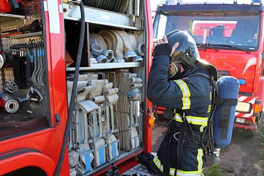 Brand i gravemaskine i Ibsker