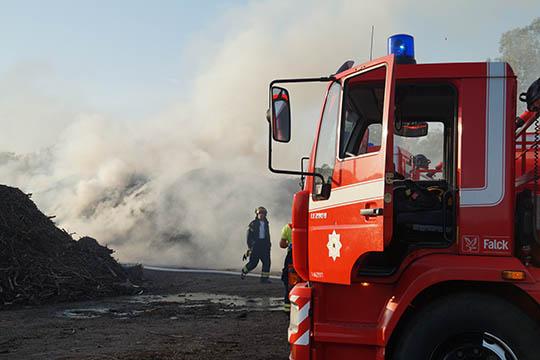 Brand i flisbunke i Nexø