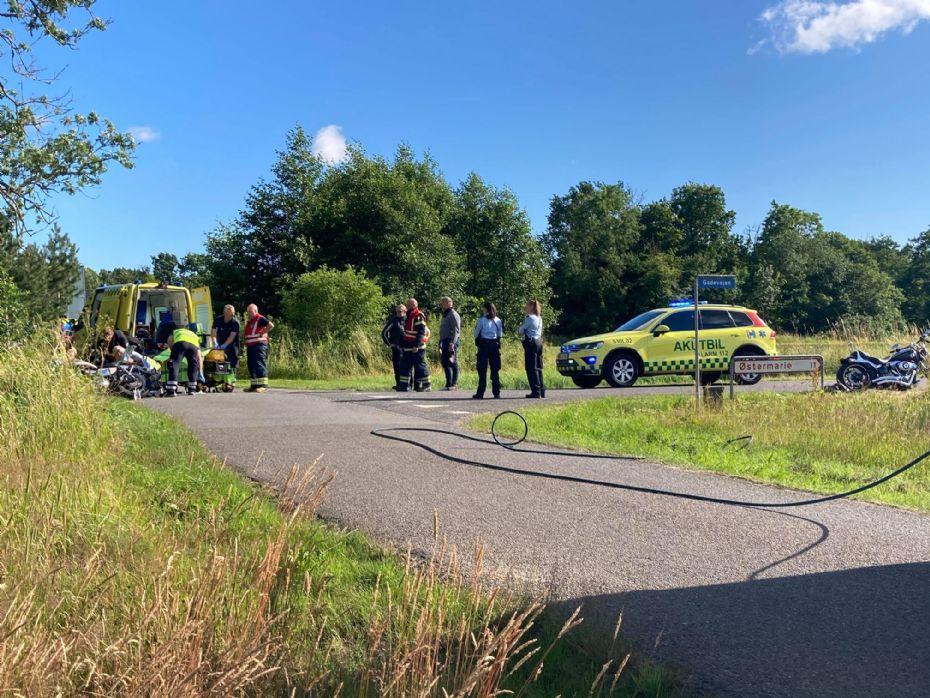 Motorcyklist kvæstet i solouheld i Bodilsker