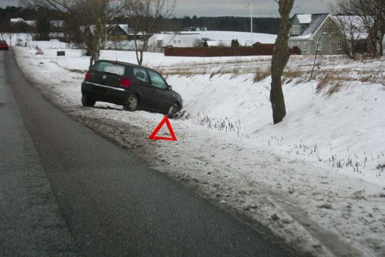 Risiko for glat på de mindre veje