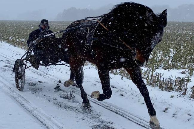 Niels Kristian Hansen træner i snemassen