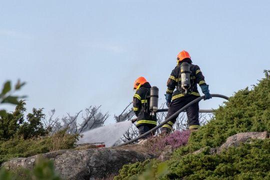 Brand truende tæt på fritidshus i Vang
